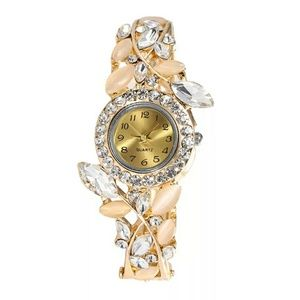 💎Full crystal flower bangle bracelet watch